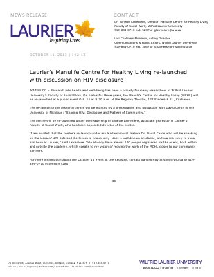 142-2013 : Laurier's Manulife Centre for Healthy Living re-launched with discussion on HIV disclosure