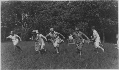 Egg-and-spoon race at church picnic, Evangelical Lutheran Church of the Redeemer, Montreal, Quebec