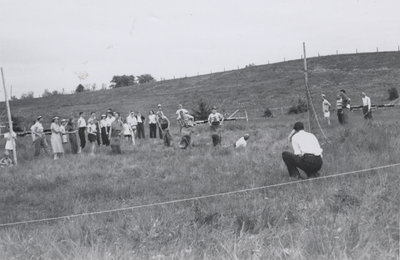 Potato sack race at church picnic, Evangelical Lutheran Church of the Redeemer, Montreal, Quebec