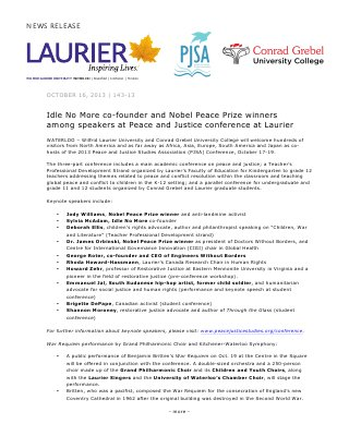143-2013 : Idle No More co-founder and Nobel Peace Prize winners among speakers at Peace and Justice conference at Laurier