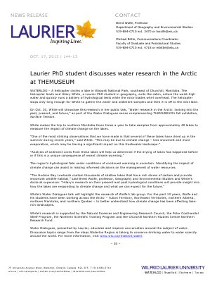 144-2013 : Laurier PhD student discusses water research in the Arctic at THEMUSEUM