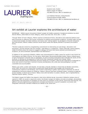145-2013 : Art exhibit at Laurier explores the architecture of water