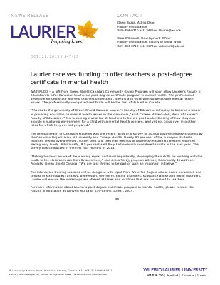 147-2013 : Laurier receives funding to offer teachers a post-degree certificate in mental health