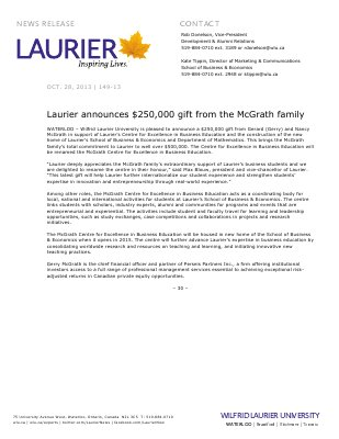 149-2013 : Laurier announces $250,000 gift from the McGrath family