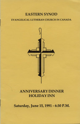 Eastern Synod of the Evangelical Lutheran Church in Canada anniversary dinner program, 1991