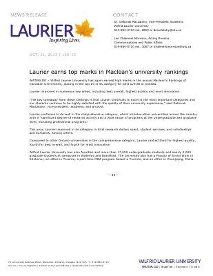 150-2013 : Laurier earns top marks in Maclean's university rankings