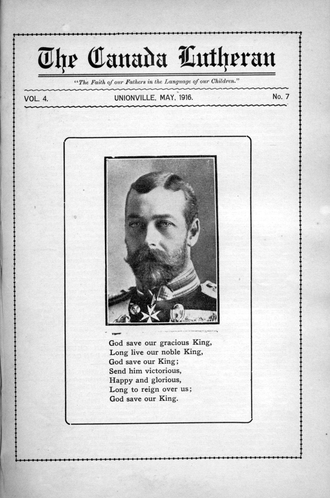 The Canada Lutheran, vol. 4, no. 7, May 1916