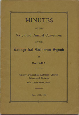 Minutes of the 63rd annual convention of the Evangelical Lutheran Synod of Canada, 1925