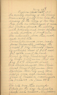 Minutes of the Ladies' Missionary Society of St. Peter's Evangelical Lutheran Church, May 28, 1919.
