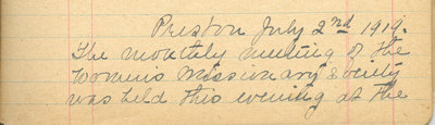 Minutes of the Ladies' Missionary Society of St. Peter's Evangelical Lutheran Church, July 02, 1919.