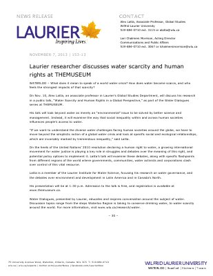 153-2013 : Laurier researcher discusses water scarcity and human rights at THEMUSEUM