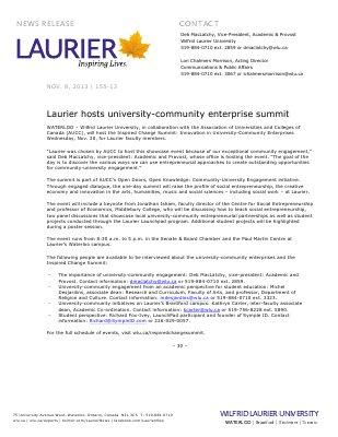 155-2013 : Laurier hosts university-community enterprise summit