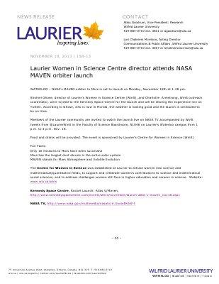 158-2013 : Laurier Women in Science Centre director attends NASA MAVEN orbiter launch