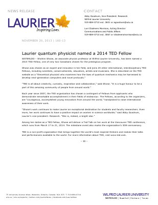 160-2013 : Laurier quantum physicist named a 2014 TED Fellow