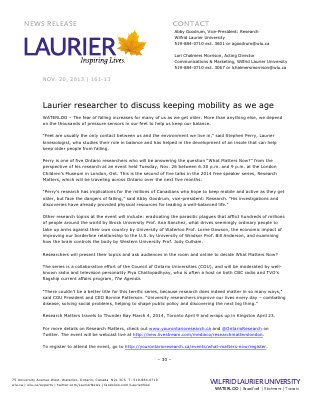 161-2013 : Laurier researcher to discuss keeping mobility as we age
