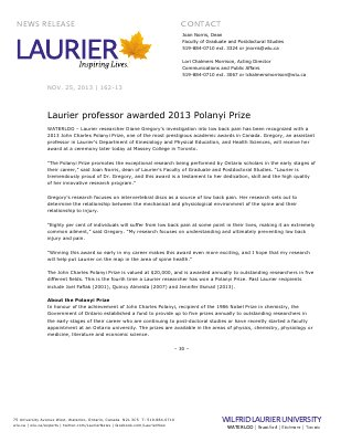 162-2013 : Laurier professor awarded 2013 Polanyi Prize