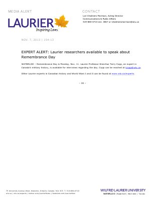 154-2013 : EXPERT ALERT: Laurier researchers available to speak about Remembrance Day