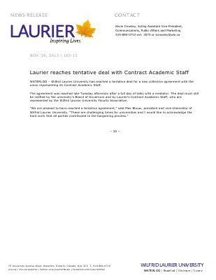 165-2013 : Laurier reaches tentative deal with Contract Academic Staff