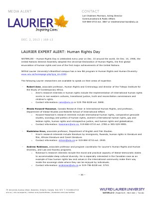 DO NOT MAKE PUBLIC 168-2013 : LAURIER EXPERT ALERT: Human Rights Day