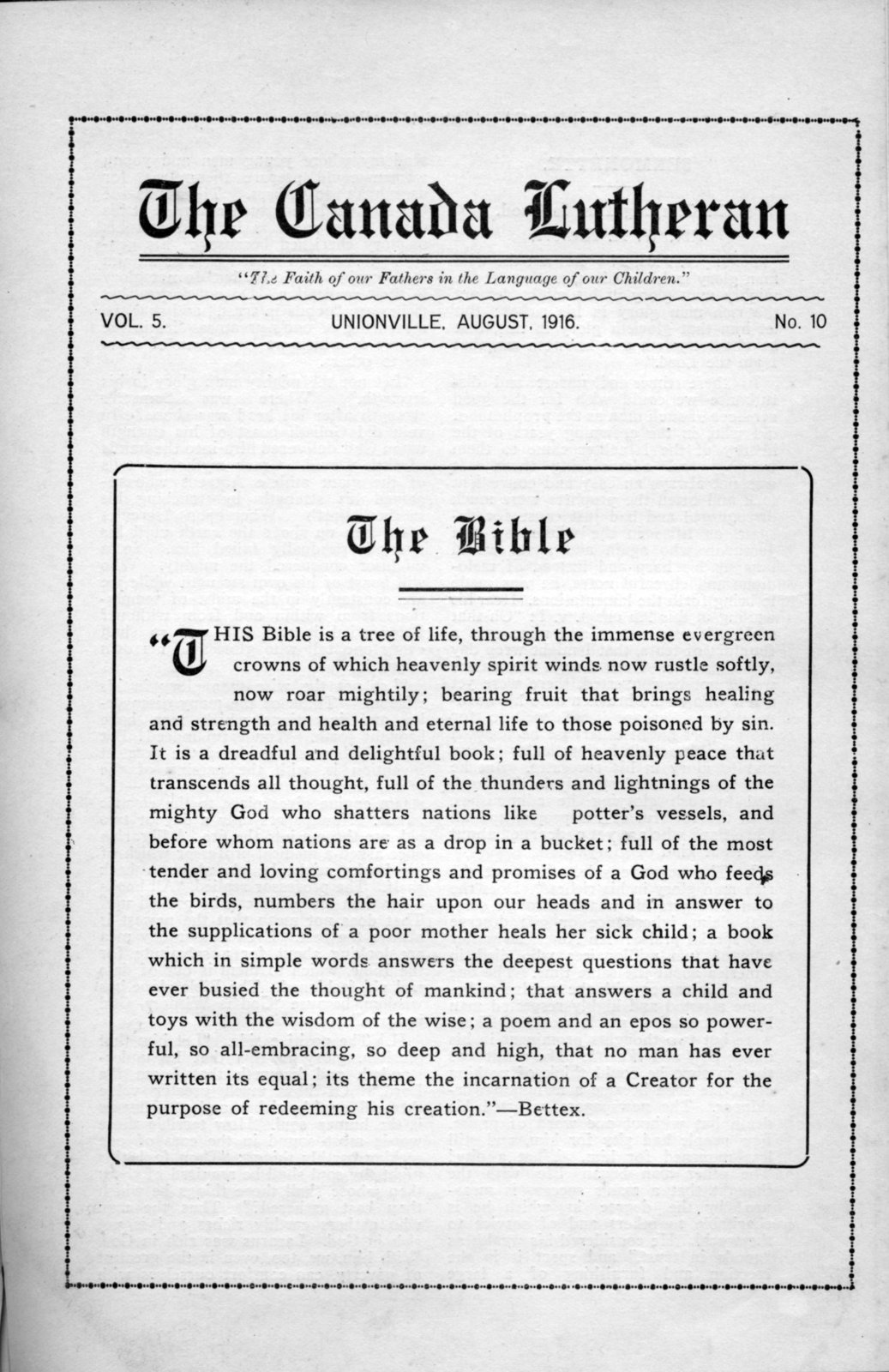 The Canada Lutheran, vol. 4, no. 10, August 1916