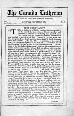 The Canada Lutheran, vol. 4, no. 11, September 1916