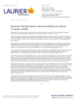 001-2014 : Governor General winner leaves something to chance in Laurier exhibit