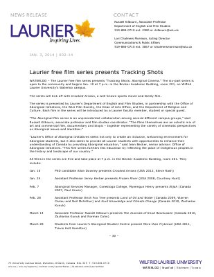 002-2014 : Laurier free film series presents Tracking Shots