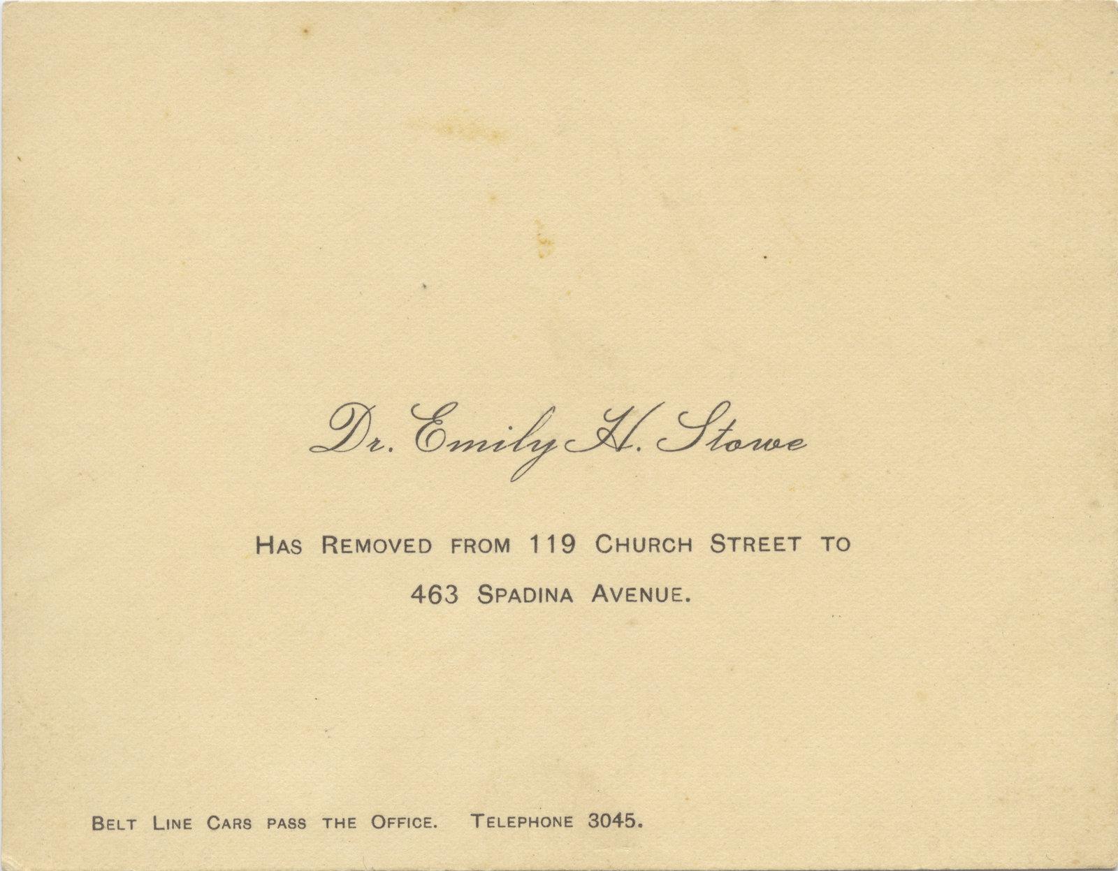 Dr. Emily H. Stowe address card