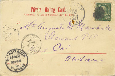 Postcard from Emily Stowe to Augusta M. Marshall