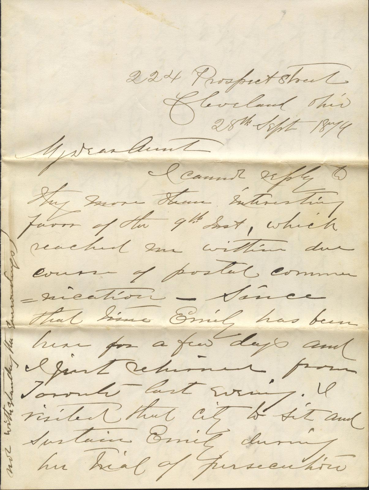 Letter from Cornelia Lossing Tilden to Augusta M. Marshall, September 28, 1879