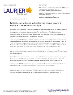 172a-2013 : Patinoires extérieures aident les chercheurs Laurier à suivre le changement climatique