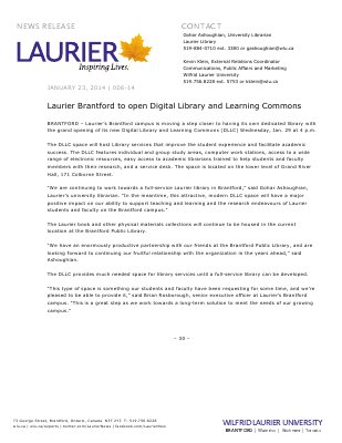 006-2014 : Laurier Brantford to open Digital Library and Learning Commons