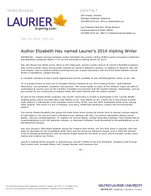 007-2014 : Author Elizabeth Hay named Laurier's 2014 Visiting Writer