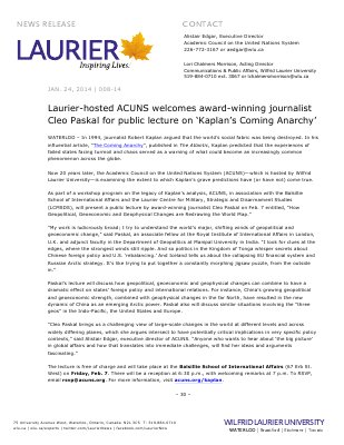 008-2014 : Laurier-hosted ACUNS welcomes award-winning journalist Cleo Paskal for public lecture on 'Kaplan's Coming Anarchy'