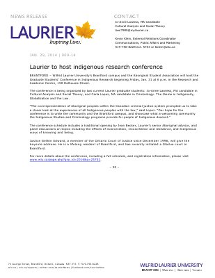 009-2014 : Laurier to host indigenous research conference