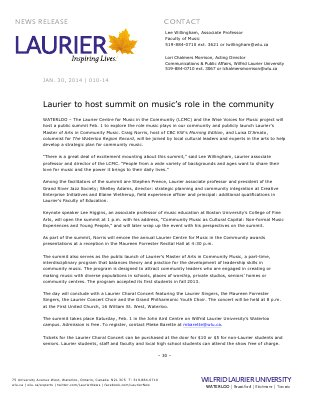 010-2014 : Laurier to host summit on music's role in the community