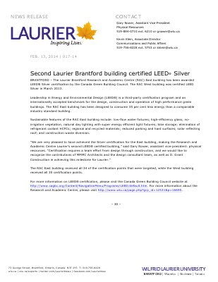 017-2014 : Second Laurier Brantford building certified LEED® Silver