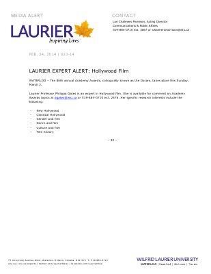 023-2014 : LAURIER EXPERT ALERT: Hollywood film