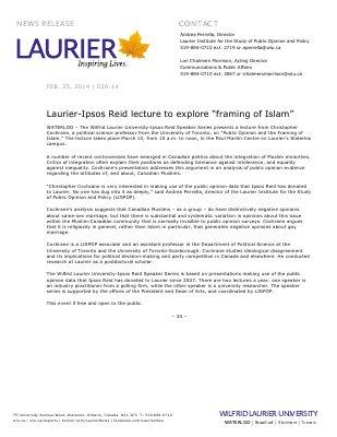 "026-2014 : Laurier-Ipsos Reid lecture to explore ""framing of Islam"""