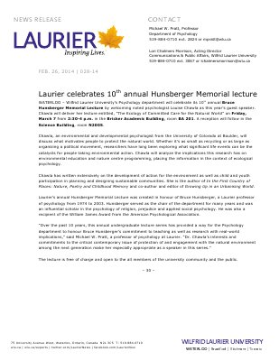 028-2014 : Laurier celebrates 10th annual Hunsberger Memorial lecture