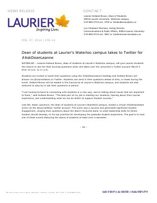 030-2014 : Dean of students at Laurier's Waterloo campus takes to Twitter for #AskDeanLeanne