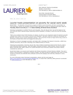 031-2014 : Laurier hosts presentation on poverty for social work week