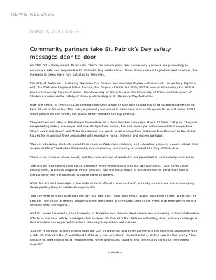 036-2014 : Community partners take St. Patrick's Day safety messages door-to-door
