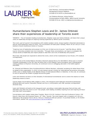 042-2014 : Humanitarians Stephen Lewis and Dr. James Orbinski share their experiences of leadership at Toronto event