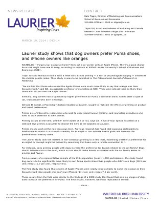 043-2014 : Laurier study shows that dog owners prefer Puma shoes, and iPhone owners like oranges