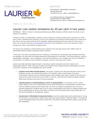 051-2014 : Laurier cuts carbon emissions by 25 per cent in two years