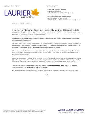 053-2014 : Laurier professors take an in-depth look at Ukraine crisis
