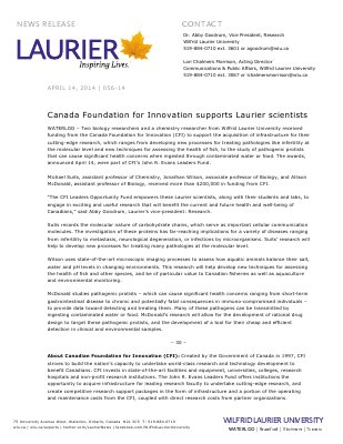 056-2014 : Canada Foundation for Innovation supports Laurier scientists