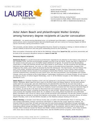 061-2014 : Actor Adam Beach and philanthropist Walter Gretzky among honorary degree recipients at Laurier convocation