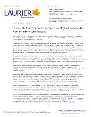 062-2014 : Laurier student researchers receive prestigious honours for work on Parkinson's disease